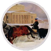 Pole Pair With A Trace Horse At The Bolshoi Theatre In Moscow Round Beach Towel