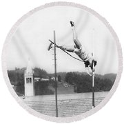 Pole Vaulter Working Out Round Beach Towel