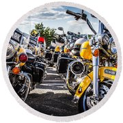 Round Beach Towel featuring the photograph Police Motorcycle Lineup by Eleanor Abramson