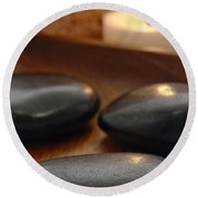 Polished Stones In A Spa Round Beach Towel