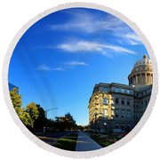 Round Beach Towel featuring the photograph Political Warping by David Andersen
