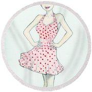Polka Dot Pink Round Beach Towel by Jimmy Adams