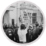 Poll Tax Riots London Round Beach Towel