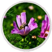 Pollinating Flowering Round Beach Towel