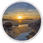 Polzeath Sunset Round Beach Towel