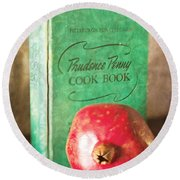Pomegranate And Vintage Cook Book Still Life Round Beach Towel