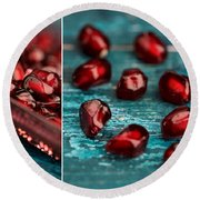 Pomegranate Collage Round Beach Towel