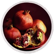 Pomegranates Round Beach Towel