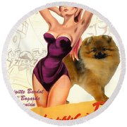 Pomeranian Art Canvas Print - Doctor At Sea Movie Poster Round Beach Towel