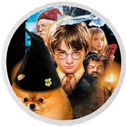 Pomeranian Art Canvas Print - Harry Potter Movie Poster Round Beach Towel