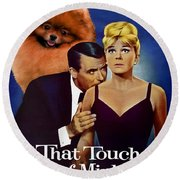 Pomeranian Art Canvas Print - That Touch Of Mink Movie Poster Round Beach Towel