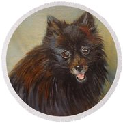 Pomeranian Round Beach Towel by Jenny Lee