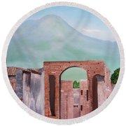 Pompeii And Vesuvius   Round Beach Towel