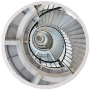 Ponce De Leon Inlet Lighthouse Staircase Round Beach Towel