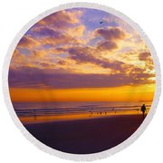 Ponce Inlet Fl Sunrise  Round Beach Towel