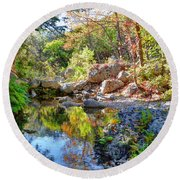 Pond At Lost Maples Round Beach Towel