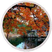 Fall At Lost Maples State Natural Area Round Beach Towel