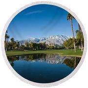 Pond In A Golf Course, Desert Princess Round Beach Towel
