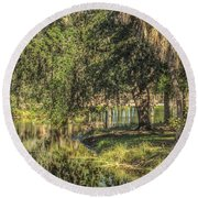Pond Reflections Round Beach Towel by Jane Luxton