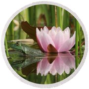 Pond Reflections Round Beach Towel by Judy Whitton