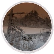 Round Beach Towel featuring the photograph Pond Scape by Mim White
