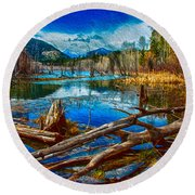 Pondering A Mountain Round Beach Towel