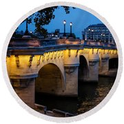 Pont Neuf Bridge - Paris France Round Beach Towel