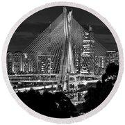 Sao Paulo - Ponte Octavio Frias De Oliveira By Night In Black And White Round Beach Towel