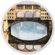 Ponte Vecchio A Firenze Round Beach Towel