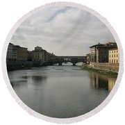 Round Beach Towel featuring the photograph Ponte Vecchio by Belinda Greb