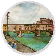 Ponte Vecchio Florence Italy Round Beach Towel by Frank Hunter