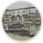 Round Beach Towel featuring the painting Ponte Vecchio Florence Italy by Malinda  Prudhomme