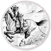 Pony Express Rider Round Beach Towel