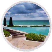 Round Beach Towel featuring the photograph Pool At Rosewood Mayakoba by Teresa Zieba
