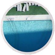 Poolside Upside Round Beach Towel by Brian Boyle