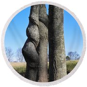 Round Beach Towel featuring the photograph Poor Twisted Tree by Nick Kirby