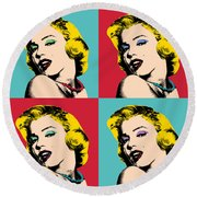 Pop Art Collage  Round Beach Towel by Mark Ashkenazi