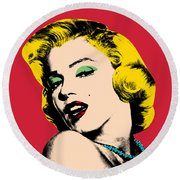 Pop Art Round Beach Towel by Mark Ashkenazi