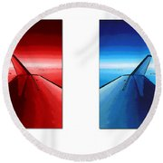 Round Beach Towel featuring the photograph Red Blue Jet Pop Art Planes  by R Muirhead Art