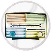 Pop Art Vintage Radio Round Beach Towel