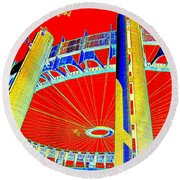 Pop Goes The Pavillion Round Beach Towel by Ed Weidman