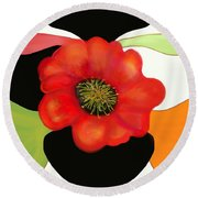Pop Poppy Round Beach Towel