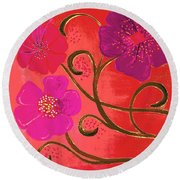 Pop Spring Purple Flowers Round Beach Towel