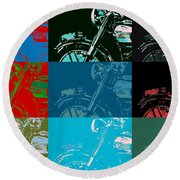 Popart Motorbike Round Beach Towel