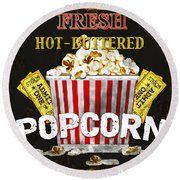 Popcorn Please Round Beach Towel