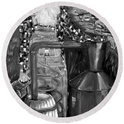 Popcorn Sutton - Black And White - Legendary Round Beach Towel