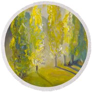 Poplars In The Morning Round Beach Towel