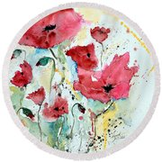 Poppies 05 Round Beach Towel