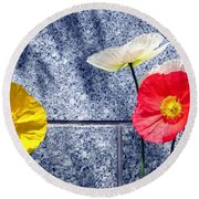 Round Beach Towel featuring the digital art Poppies And Granite by Will Borden