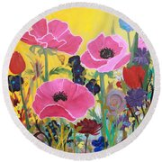 Round Beach Towel featuring the painting Poppies And Time Traveler by Robin Maria Pedrero